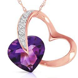 Genuine 3.2 ctw Amethyst & Diamond Necklace 14KT Rose Gold - REF-49X6M
