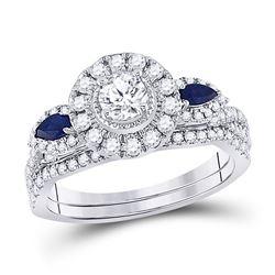 Round Diamond Bridal Wedding Ring Band Set 7/8 Cttw 14kt White Gold - REF-104K9Y