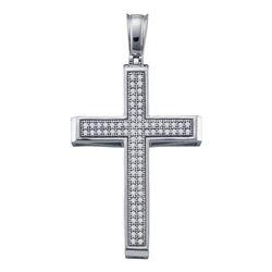 Womens Round Diamond Cross Religious Pendant 1/4 Cttw 10kt White Gold - REF-19R5X