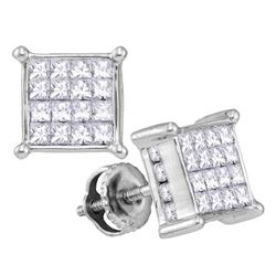 Womens Princess Diamond Square Cluster Earrings 1-1/2 Cttw 14kt White Gold - REF-71X9A