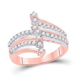 Womens Round Diamond Modern Fashion Ring 1/2 Cttw 14kt Two-tone Gold - REF-43N9F