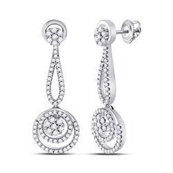 Womens Round Diamond Circle Cluster Dangle Earrings 1 Cttw 10kt White Gold - REF-74W5K