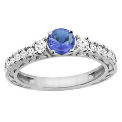 1.19 CTW Tanzanite & Diamond Ring 14K White Gold - REF-85H5M
