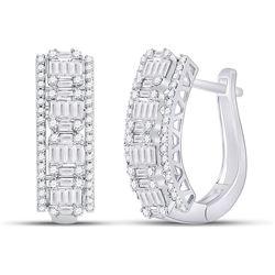 Womens Baguette Diamond Fashion Cocktail Earrings 1-3/8 Cttw 14kt White Gold - REF-126M9H