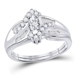 Marquise Diamond Bridal Wedding Ring Band Set 1/2 Cttw 14kt White Gold - REF-49M5H