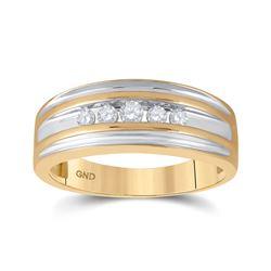 Mens Round Diamond 5-stone Wedding Ring 1/4 Cttw 10kt Yellow Gold - REF-27W9K