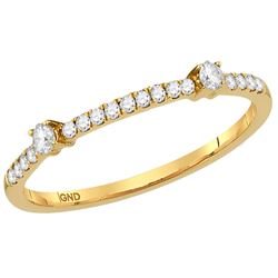 Womens Round Diamond Single Row Stackable Band Ring 1/6 Cttw 10kt Yellow Gold - REF-13H5R
