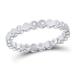 Womens Round Diamond Machine-Set Band Ring 1/8 Cttw 14kt White Gold - REF-19K5Y