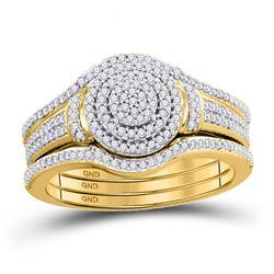 Round Diamond Cluster Bridal Wedding Ring Band Set 1/3 Cttw 10kt Yellow Gold - REF-35N5F