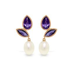 Genuine 16 ctw Pearl & Amethyst Earrings 14KT Rose Gold - REF-42T2A