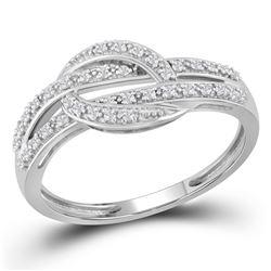 Womens Round Diamond Band Ring 1/10 Cttw 10kt White Gold - REF-13H5R