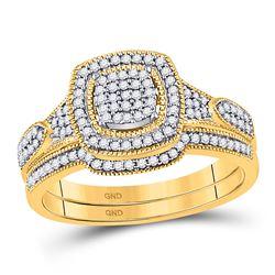 Round Diamond Bridal Wedding Ring Band Set 1/3 Cttw 10kt Yellow Gold - REF-29X5A