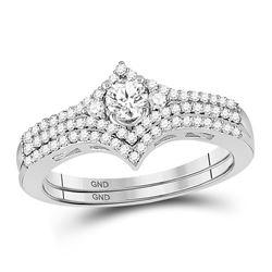 Round Diamond Chevron Bridal Wedding Ring Band Set 1/2 Cttw 14kt White Gold - REF-55X9A