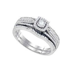 Round Diamond Bridal Wedding Ring Band Set 3/8 Cttw 10k White Gold - REF-46M5H