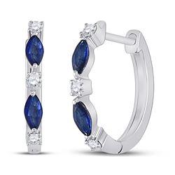 Womens Marquise Blue Sapphire Diamond Hoop Earrings 3/8 Cttw 14kt White Gold - REF-16R9X