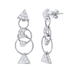0.80 CTW Diamond Earrings 18K White Gold - REF-97W3H