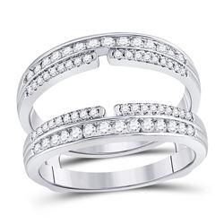 Womens Round Diamond Wrap Ring Guard Enhancer 1/2 Cttw 14kt White Gold - REF-63H9R