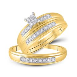 His Hers Round Diamond Square Matching Wedding Set 1/5 Cttw 14kt Yellow Gold - REF-39N9F
