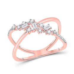 Womens Round Diamond Modern Scattered Fashion Ring 1/5 Cttw 14kt Rose Gold - REF-26H9R