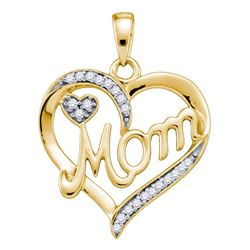 Womens Round Diamond Mom Mother Heart Pendant 1/10 Cttw 10kt Yellow Gold - REF-13Y9N