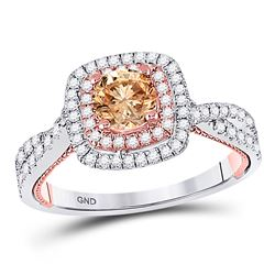 Round Brown Diamond Solitaire Bridal Wedding Engagement Ring 1 Cttw 14kt Two-tone Gold - REF-84X5A