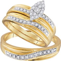 His Hers Round Diamond Cluster Matching Wedding Set 1/3 Cttw 10kt Yellow Gold - REF-42N9F