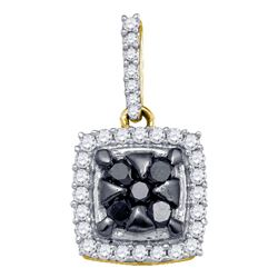 Womens Round Black Color Enhanced Diamond Square Cluster Pendant 1/2 Cttw 10kt Yellow Gold - REF-18W