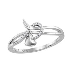 Womens Round Diamond Heart Whimsical Band Ring 1/20 Cttw 10kt White Gold - REF-9Y9N