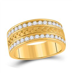 Mens Round Diamond Wedding Band Ring 1 Cttw 14kt Yellow Gold - REF-123X5A