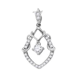 Womens Round Diamond Framed Solitaire Pendant 1/4 Cttw 10kt White Gold - REF-16A9M