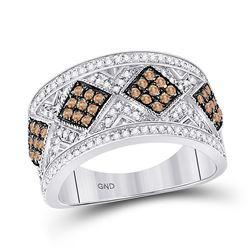 Womens Round Brown Diamond Band Ring 5/8 Cttw 10kt White Gold - REF-30N9F