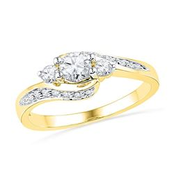 Round Diamond Bridal Wedding Engagement Anniversary Ring 1/2 Cttw 10k Yellow Gold - REF-48H5R