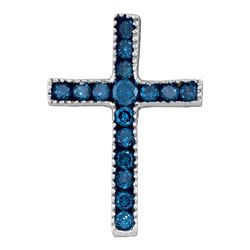 Womens Round Blue Color Enhanced Diamond Small Cross Pendant 1/6 Cttw 10kt White Gold - REF-5N9F