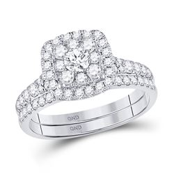 Round Diamond Bridal Wedding Ring Band Set 1 Cttw 14kt White Gold - REF-76K5Y