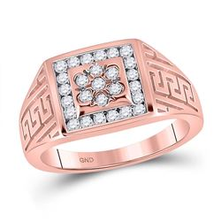 Mens Round Diamond Greek Key Square Ring 1/2 Cttw 10kt Rose Gold - REF-47W9K