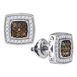 Womens Round Brown Diamond Square Cluster Earrings 1/2 Cttw 10kt White Gold - REF-21K5Y