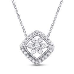 Womens Round Diamond Offset Square Cluster Necklace 1/2 Cttw 14kt White Gold - REF-32N5F