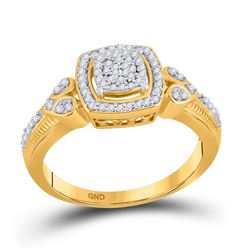 Womens Round Diamond Square Halo Cluster Ring 1/5 Cttw 10kt Yellow Gold - REF-23Y5N