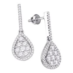 Womens Round Diamond Dangle Earrings 1-1/2 Cttw 10kt White Gold - REF-87M5H