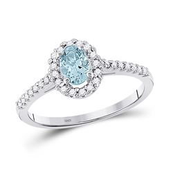 Womens Oval Aquamarine Diamond-accent Solitaire Ring 1/5 Cttw 10kt White Gold - REF-20N5F