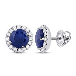 Womens Round Blue Sapphire Diamond Halo Earrings 1-1/5 Cttw 14kt White Gold - REF-32N5F