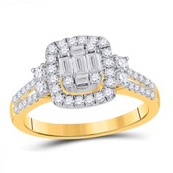 Womens Baguette Diamond Square Cluster Ring 3/4 Cttw 14kt Yellow Gold - REF-71F9W