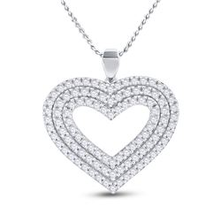 Womens Round Diamond Heart Pendant 1 Cttw 14kt Yellow Gold - REF-63R9X