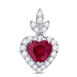 Womens Heart Ruby Diamond Fashion Pendant 3/4 Cttw 10kt White Gold - REF-17A5M