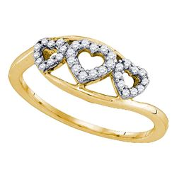 Womens Round Diamond Triple Heart Ring 1/5 Cttw 10kt Yellow Gold - REF-15A5M