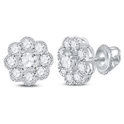 Womens Round Diamond Flower Cluster Stud Earrings 1 Cttw 14kt White Gold - REF-71R9X