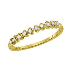 Womens Round Diamond Heart Stackable Band Ring 1/10 Cttw 14kt Yellow Gold - REF-10R5X