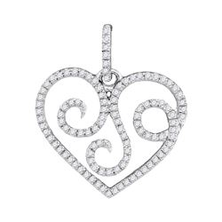 Womens Round Diamond Curl Heart Pendant 1/3 Cttw 10kt White Gold - REF-16Y9N