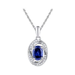 Womens Oval Lab-Created Blue Sapphire Solitaire Diamond Pendant 1-1/3 Cttw 10kt White Gold - REF-10H
