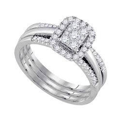 Diamond Cluster Bridal Wedding Ring Band Set 1/2 Cttw 10kt White Gold - REF-49Y5N